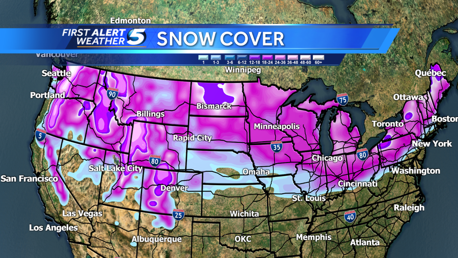 Current US Snow Cover 38 Percent More Than Last Month - Current Us Snow Cover Map
