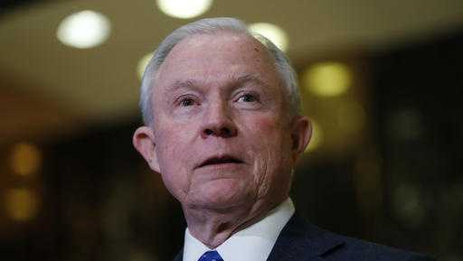 In this photo taken Nov. 17, 2016, Sen. Jeff Sessions, R-Ala. speaks to media at Trump Tower in New York.