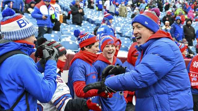 NFL Hall of Fame member and former Buffalo Bills quarterback Jim Kelly greets fans on the field prior to an NFL football game between the Buffalo Bills and the Miami Dolphins Sunday, December 17, 2017, in Orchard Park, N.Y.