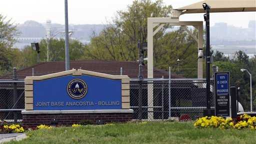 The gate for the Anacostia-Bolling joint military base in Washington.