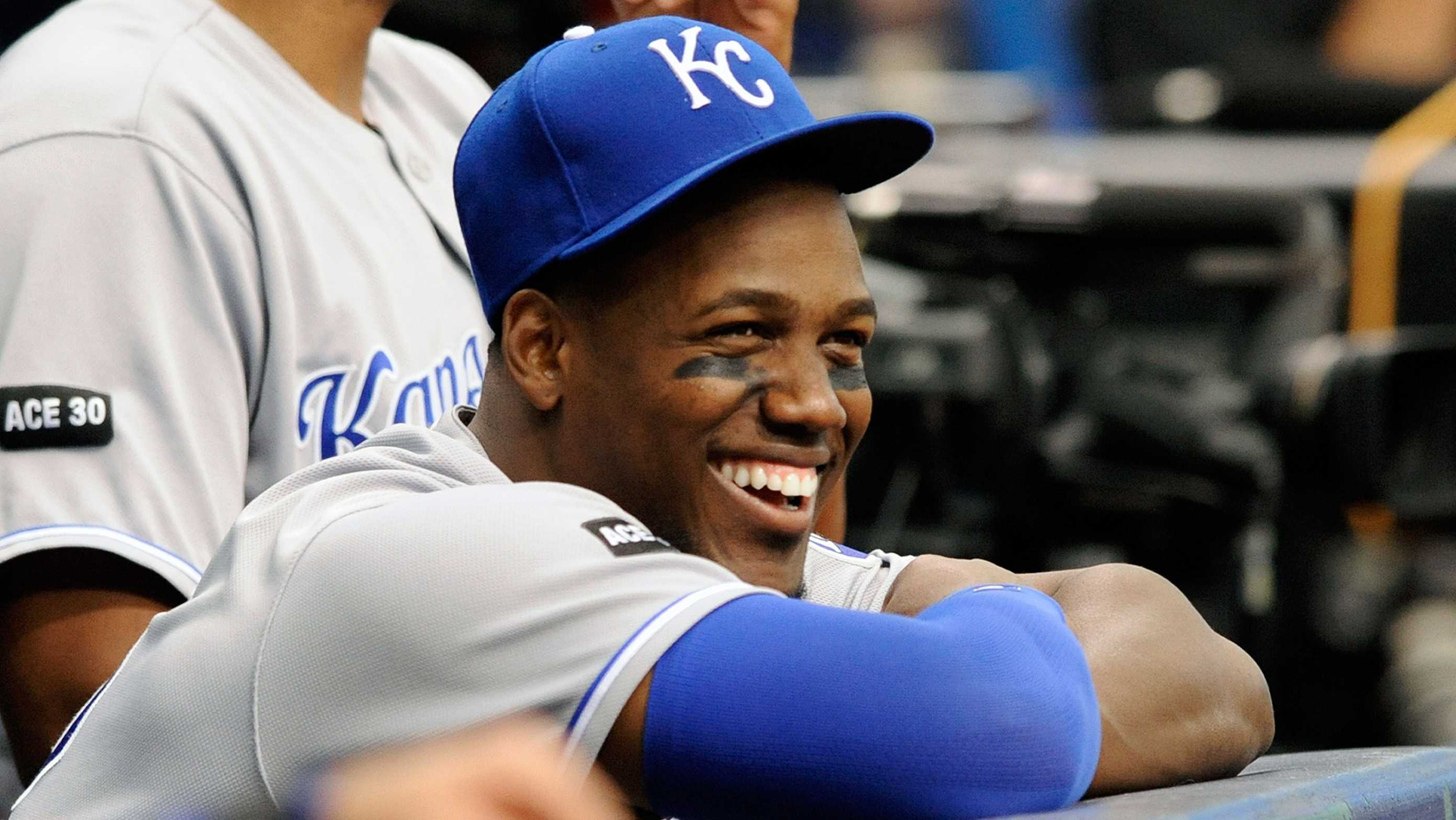 Kansas City Royals' Jorge Soler sits in the dugout during a baseball game against the Tampa Bay Rays Thursday, May 11, 2017, in St. Petersburg, Fla.