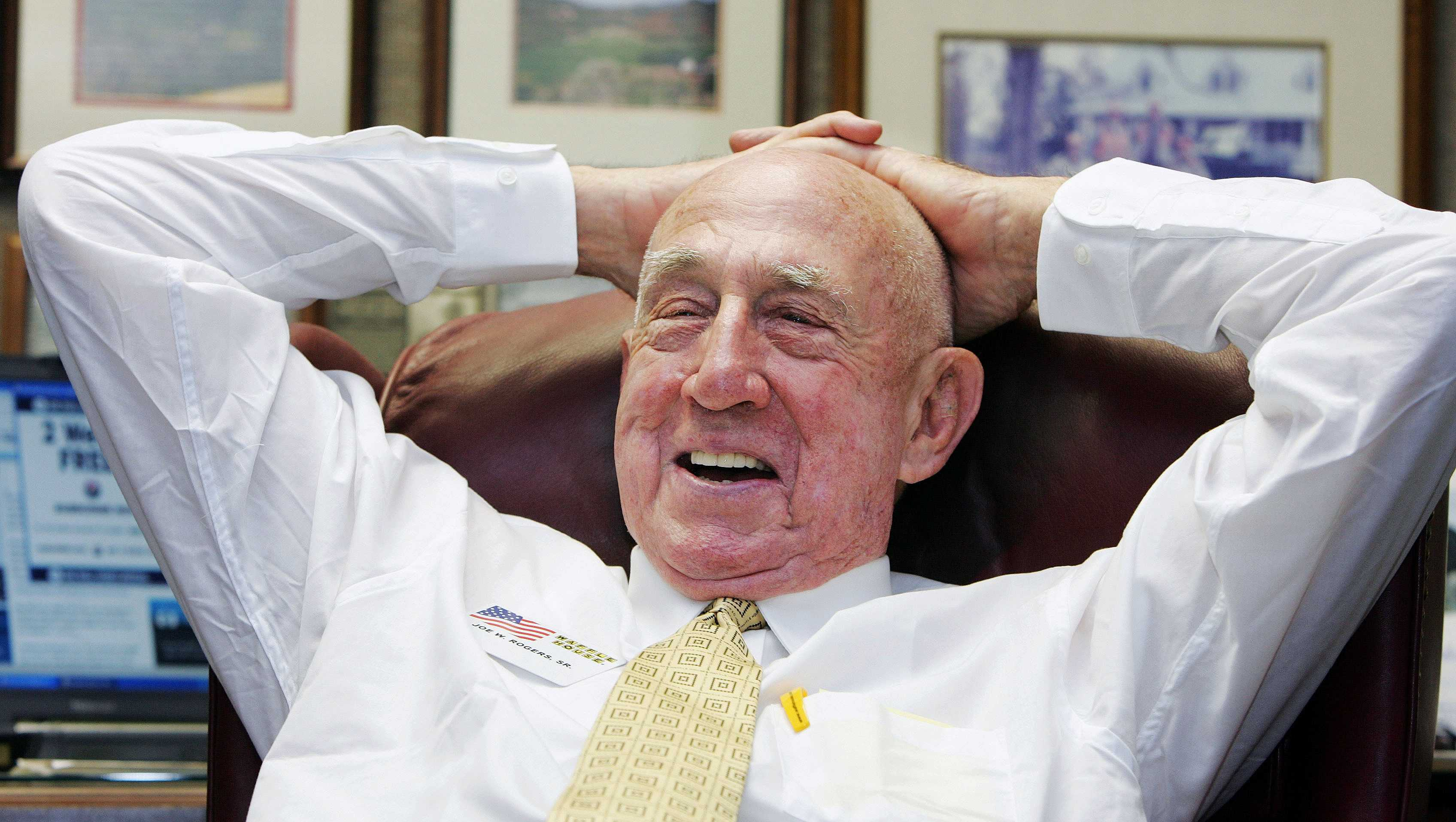 In this Tuesday, July 26, 2005, file photo, Waffle House co-founder Joseph Wilson Rogers Sr., sits in his office in the Waffle House headquarters in Norcross, Ga. Georgia-based Waffle House said Rogers died Friday, March 3, 2017. He was 97.