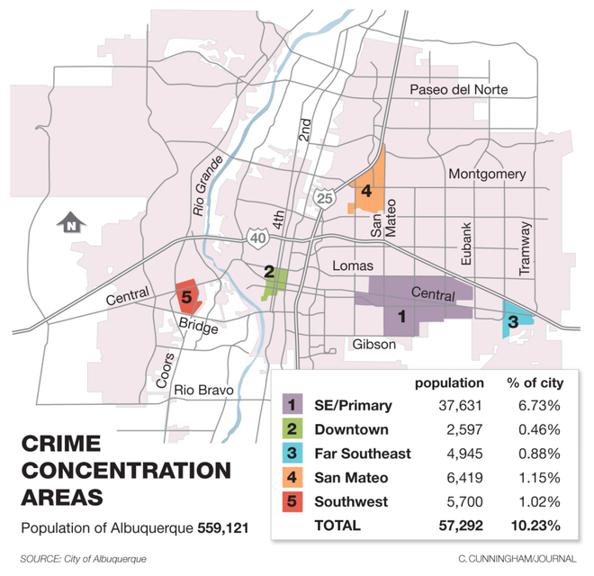 Crime Map Shows Most Dangerous Areas To Live In Albuquerque - Albuquerque map