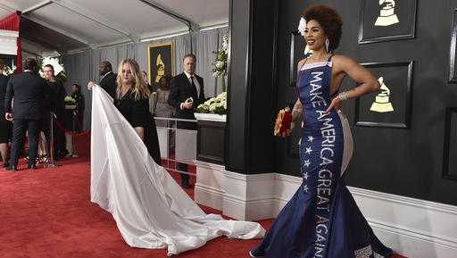 "Joy Villa wears a gown that says ""Make America Great Again"" at the 2017 Grammy Awards"