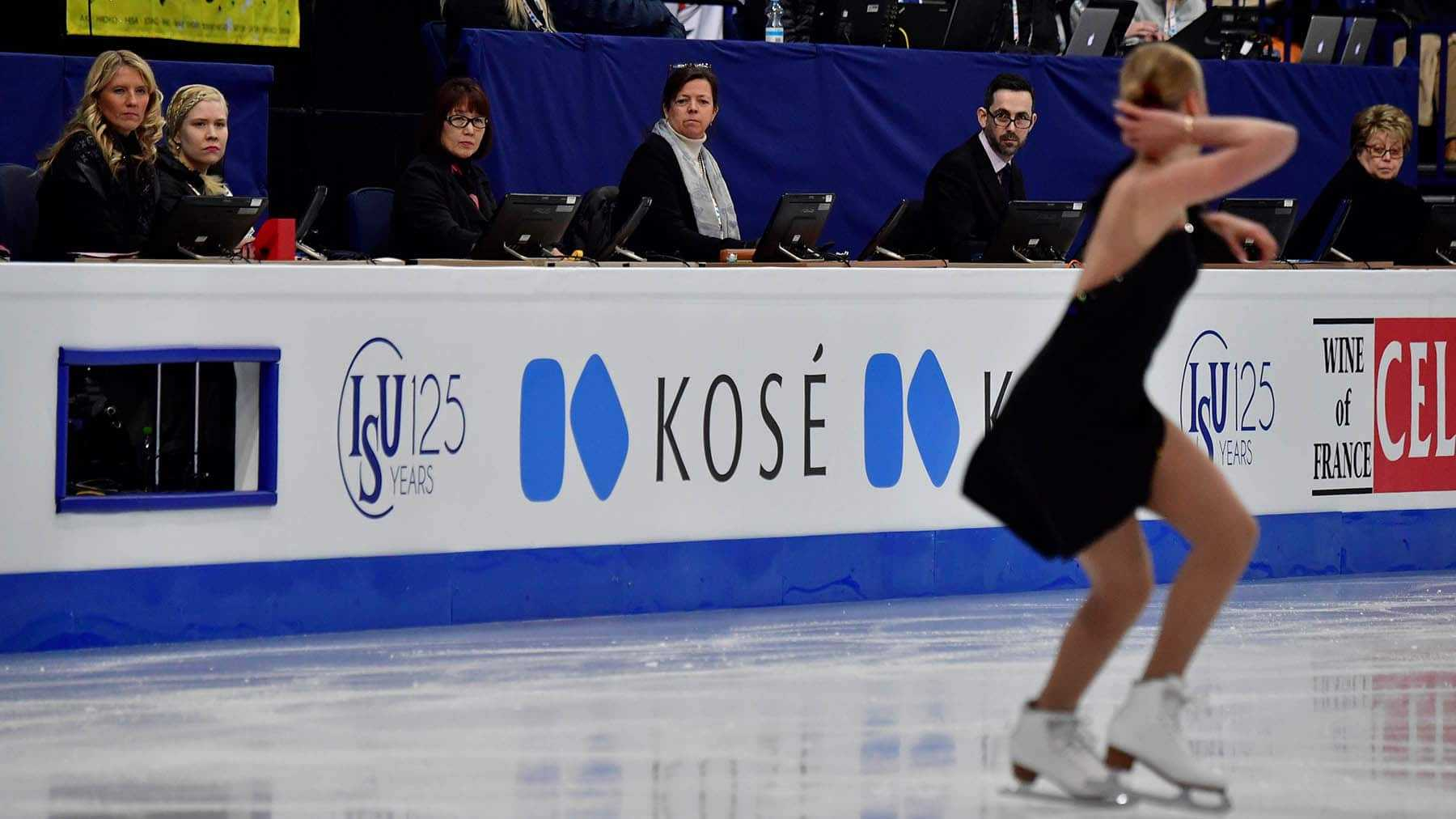 Judges look on as Russia's Anna Pogorilaya, currently ranked fourth, competes in the womens short program at the ISU World Figure Skating Championships in Helsinki, Finland on March 29, 2017.