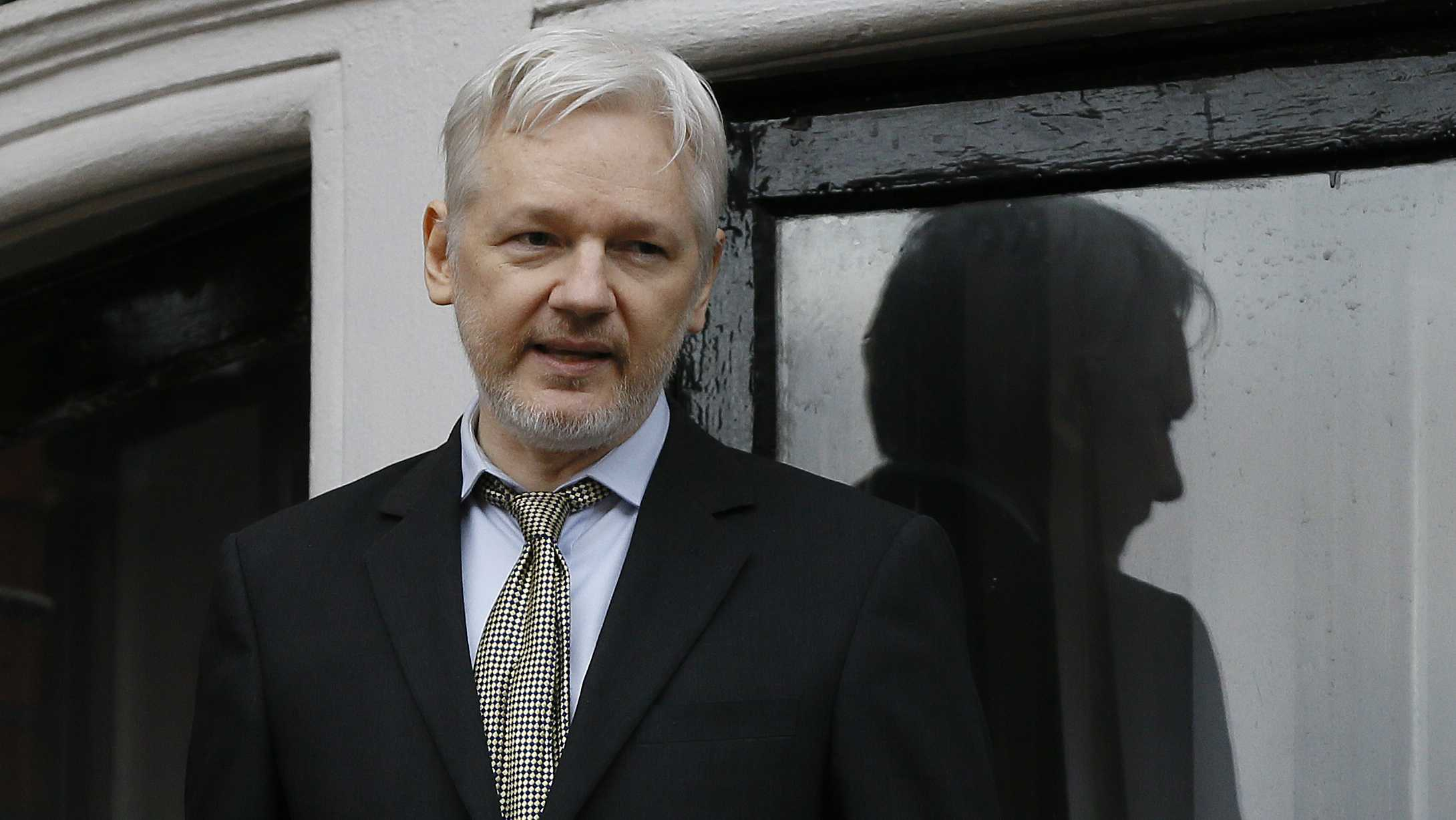 In this Feb. 5, 2016 file photo, WikiLeaks founder Julian Assange speaks from the balcony of the Ecuadorean Embassy in London.