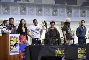 "Director Zack Snyder, from left, and actors Ben Affleck, Gal Gadot, Ray Fisher, Ezra Miller, Jason Momoa, and Henry Cavill attend the ""Justice League"" panel on day 3 of Comic-Con International on Saturday, July 23, 2016, in San Diego."