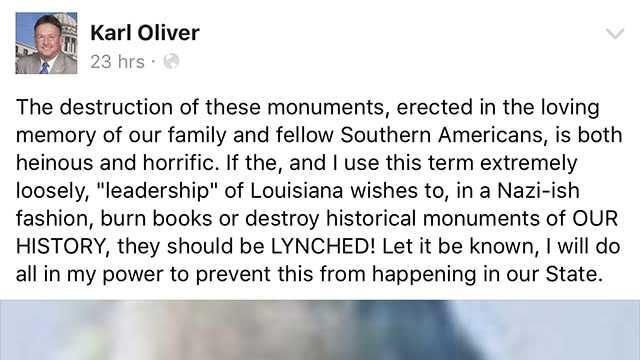 Karl Oliver Facebook post