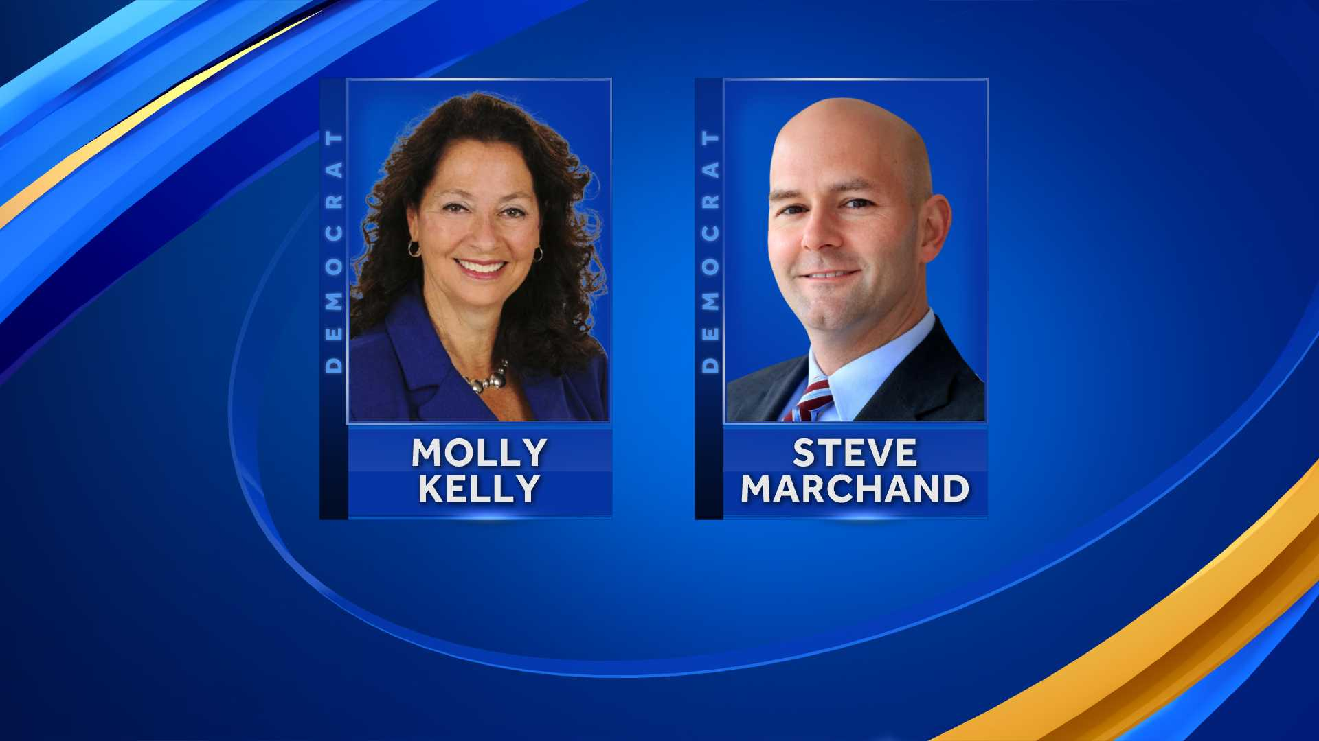 Democratic gubernatorial candidates Molly Kelly and Steve Marchand