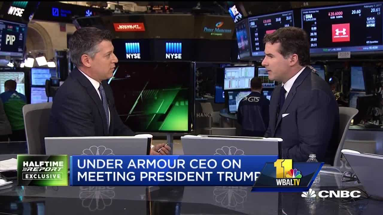 Under Armour founder and CEO Kevin Plank discusses President Donald Trump during an interview on CNBC.
