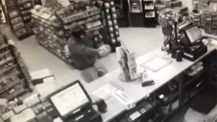 Surveillance image of suspect in Kernersville convenience store robbery