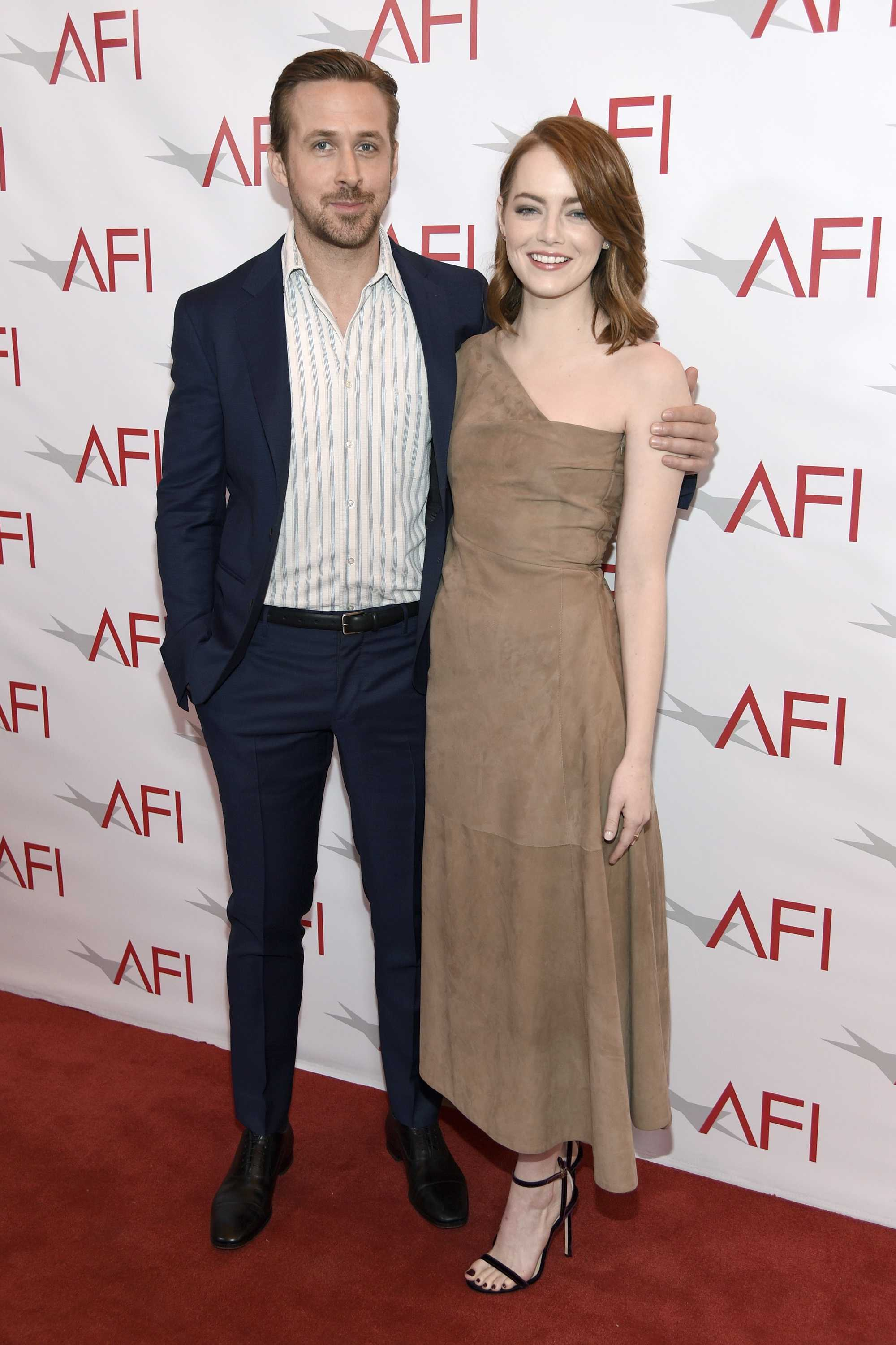 "Ryan Gosling, left, and Emma Stone, from ""La La Land,"" Friday, Jan. 6, 2017, in Los Angeles."
