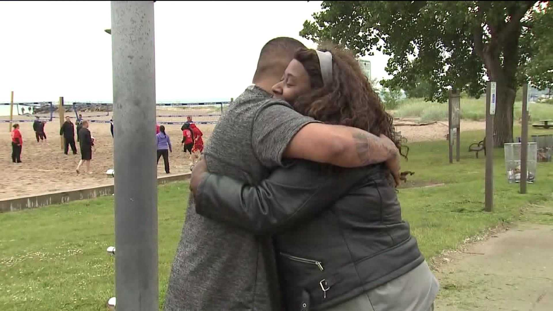 A Father's Day at the beach nearly ended with a teen drowning in Lake Michigan.