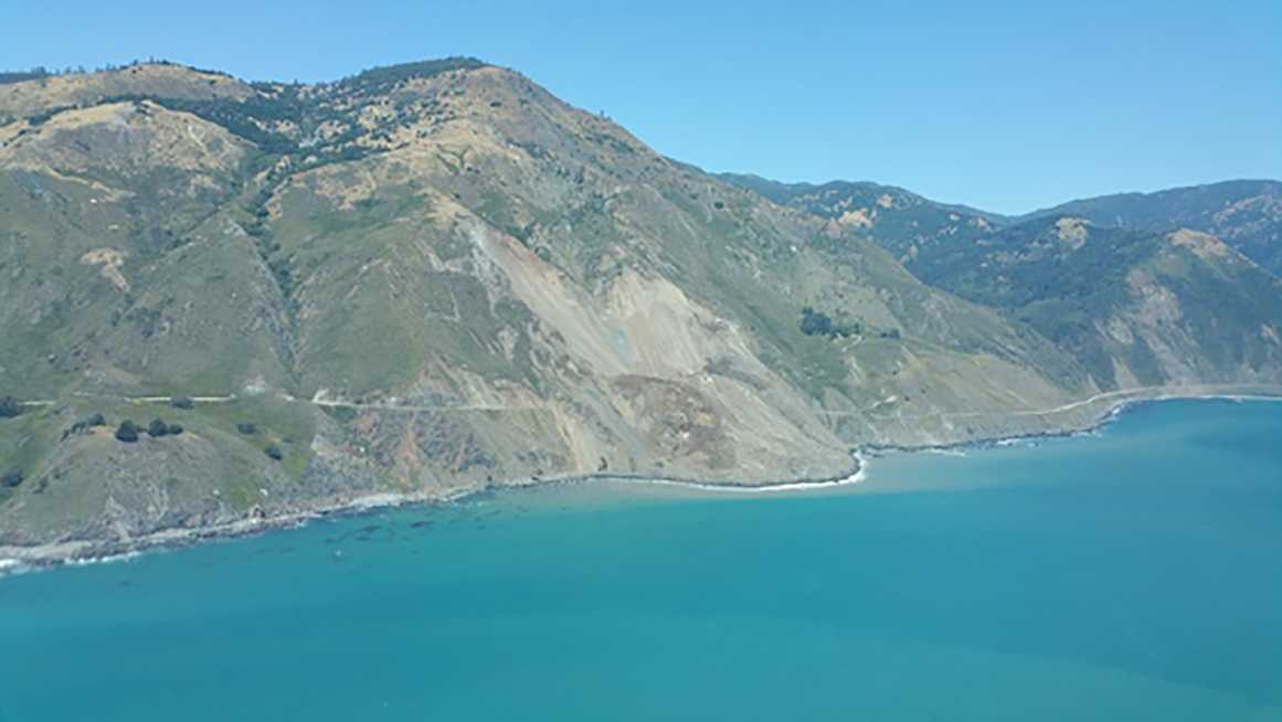 A quarter-mile of Highway 1 was covered by as much as 80 feet of stone and soil because of a massive landslide on Saturday, May 20, 2017.