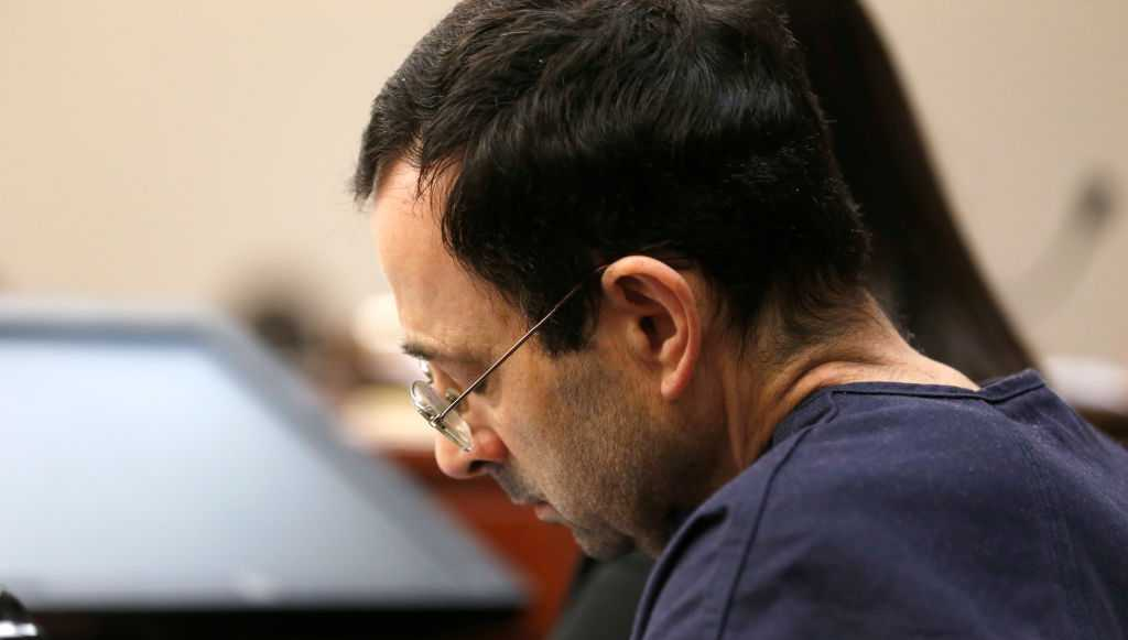 Former Michigan State University and USA Gymnastics doctor Larry Nassar listens to impact statements during the sentencing phase in Ingham County Circuit Court on January 24, 2018 in Lansing, Michigan.