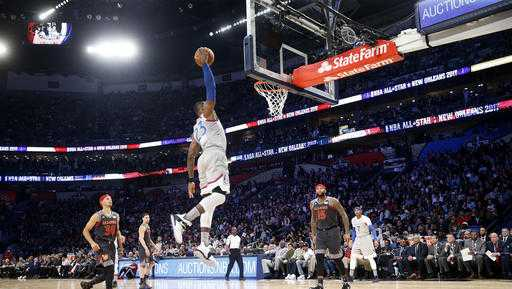 Eastern Conference LeBron James of the Cleveland Caveliers (23) slam dunks during the first half of the NBA All-Star basketball game in New Orleans, Sunday, Feb. 19, 2017.