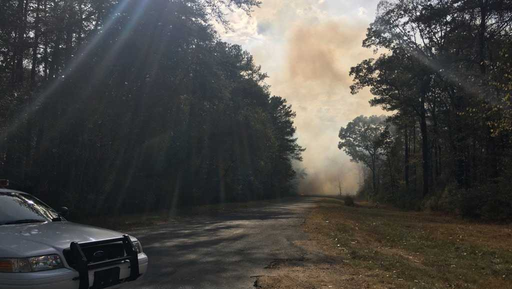 Brush fire along I-20 in the Leeds/Moody area