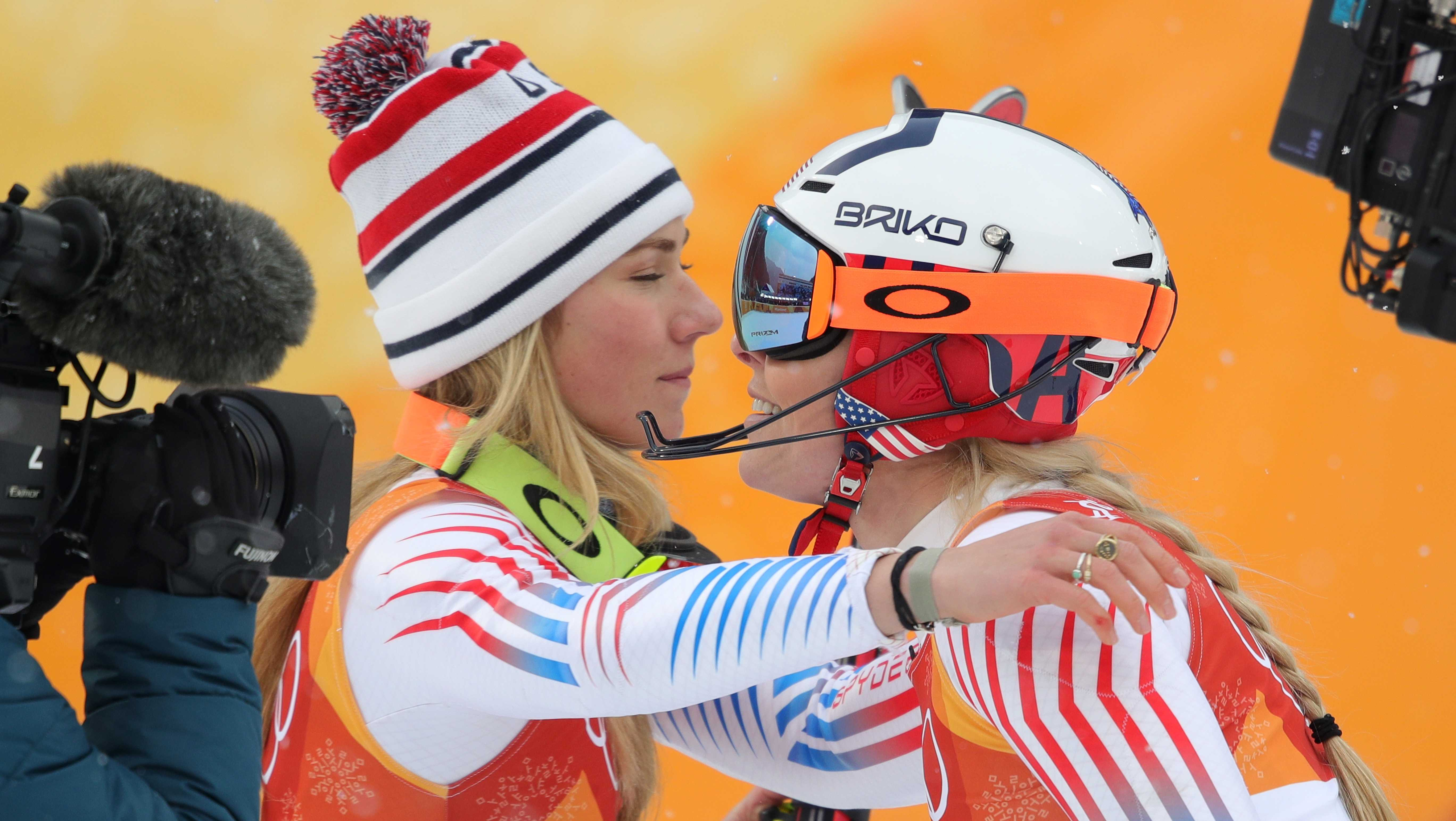 Silver medalist, Mikaela Shiffrin of the United States is congratulated by Lindsey Vonn of the United States during the Ladies' Alpine Combined on day thirteen of the PyeongChang 2018 Winter Olympic Games at Yongpyong Alpine Centre on February 22, 2018 in Pyeongchang-gun, South Korea.