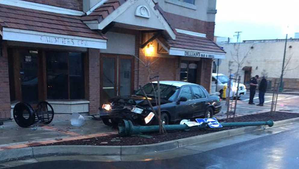 A DUI suspect crash in front of a Lincoln bar on Sunday, March 5, 2017.