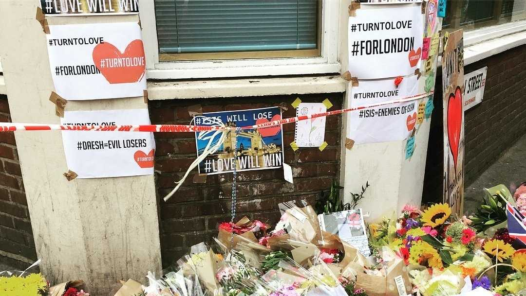 Flowers are laid at a memorial around the London Bridge area in honor of the victims of the London Bridge terror attack