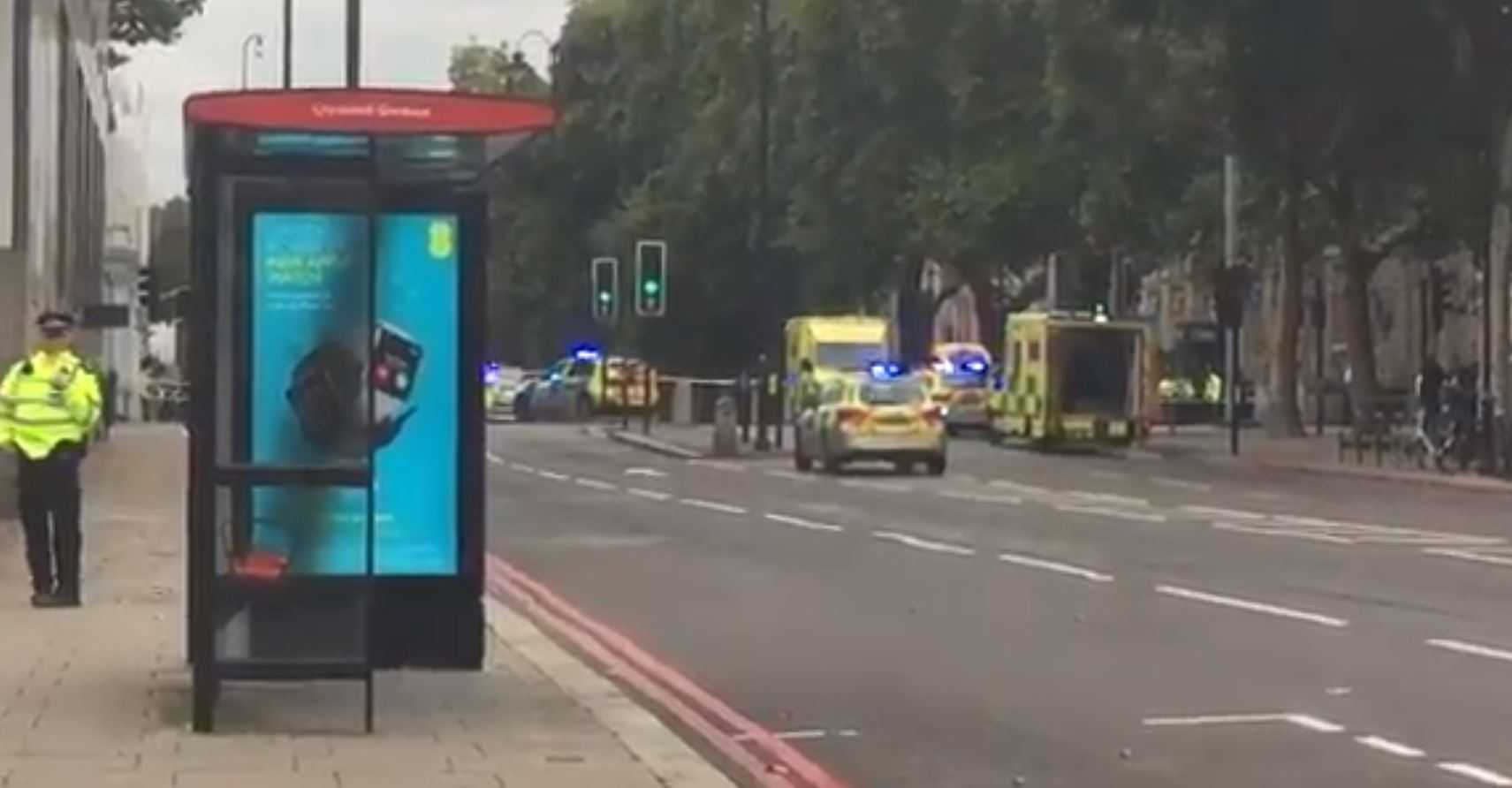 Vehicle mounts pavement and strikes pedestrians outside London museum