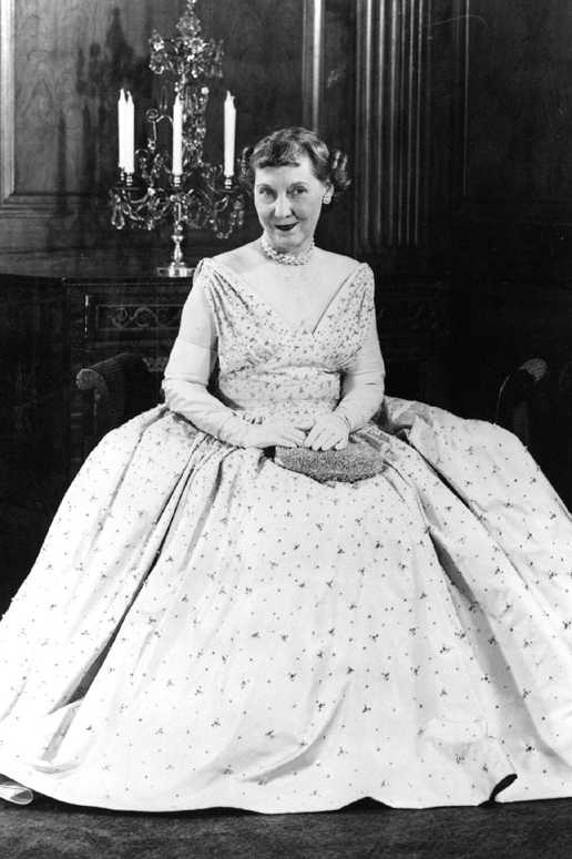 Mamie Eisenhower in her inaugural ball dress on January 20, 1953.