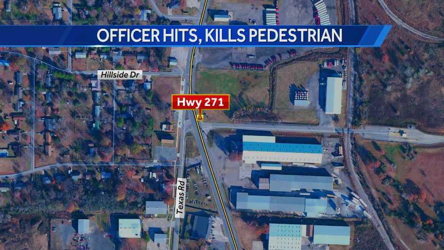 Map shows where a Fort Smith police officer hit and killed a man pushing a motorcycle in the road.