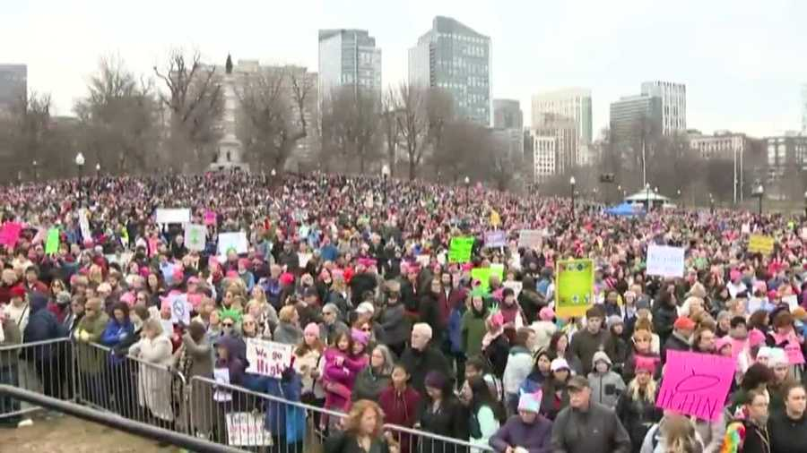 Thousands in Boston gather to march against President Donald Trump on Jan. 21, 2017.