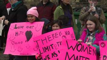 Children join a march in Milwaukee protesting President Donald Trump on Jan. 21, 2017.