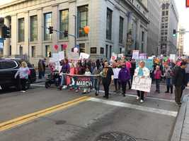 Women march in Pittsburgh against President Donald Trump on Jan. 21, 2017.