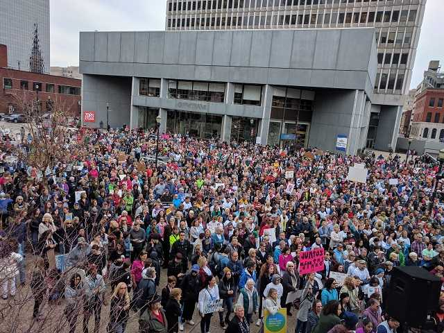 A crowd in Louisville, Ky., gathers to march against President Donald Trump on Jan. 21, 2017.