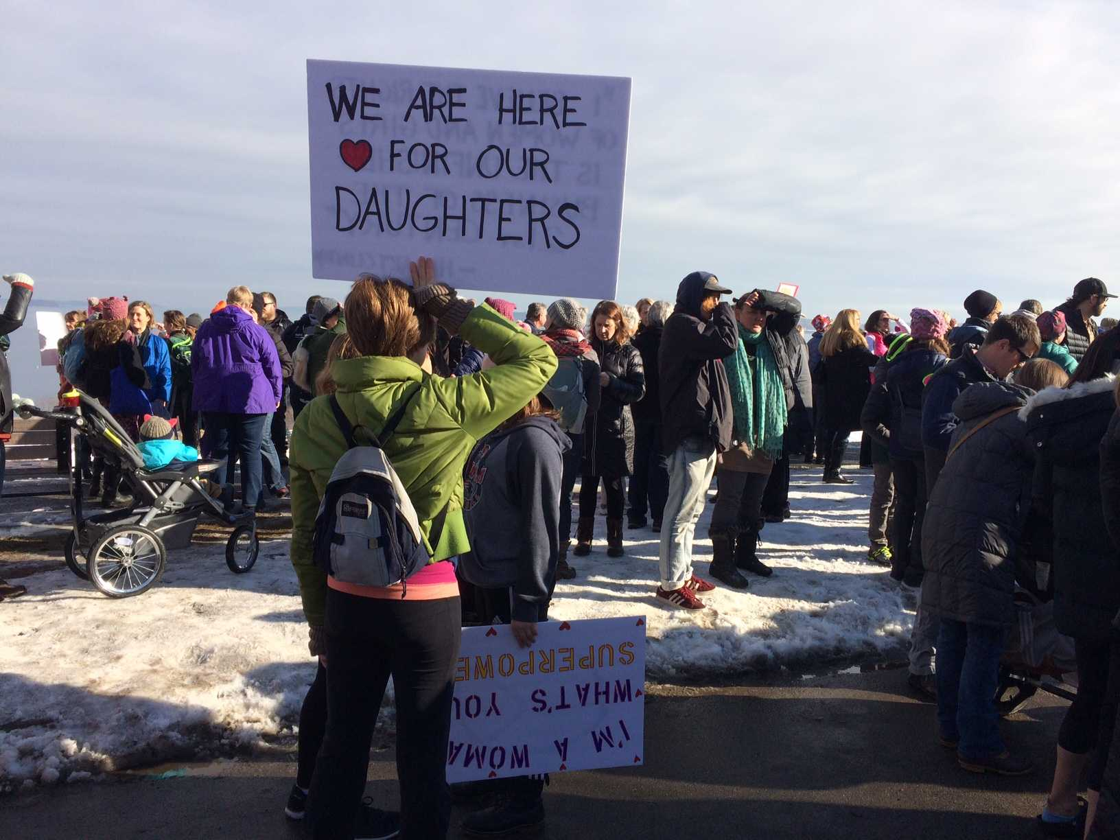 Marchers gather in Portland, Maine, to protest President Donald Trump on Jan. 21, 2017.