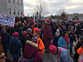 Marchers gather in Augusta, Maine, to protest President Donald Trump on Jan. 21, 2017.