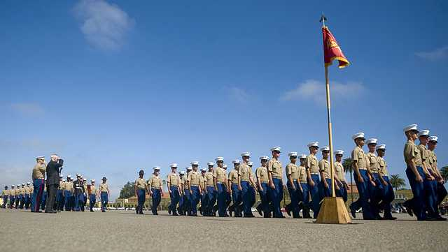 Then-Secretary of Defense Robert M. Gates salutes as newly enlisted Marines conduct a pass in review during their graduation ceremony at the Marine Corps Recruit Depot in San Diego, Calif., on Aug. 13, 2010.