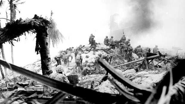 Marines storm the island of Tarawa in November 1943.