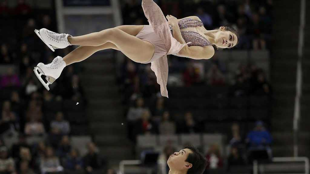 Marissa Castelli and Mervin Tran perform during the pairs free skate event at the U.S. Figure Skating Championships in San Jose, Calif.