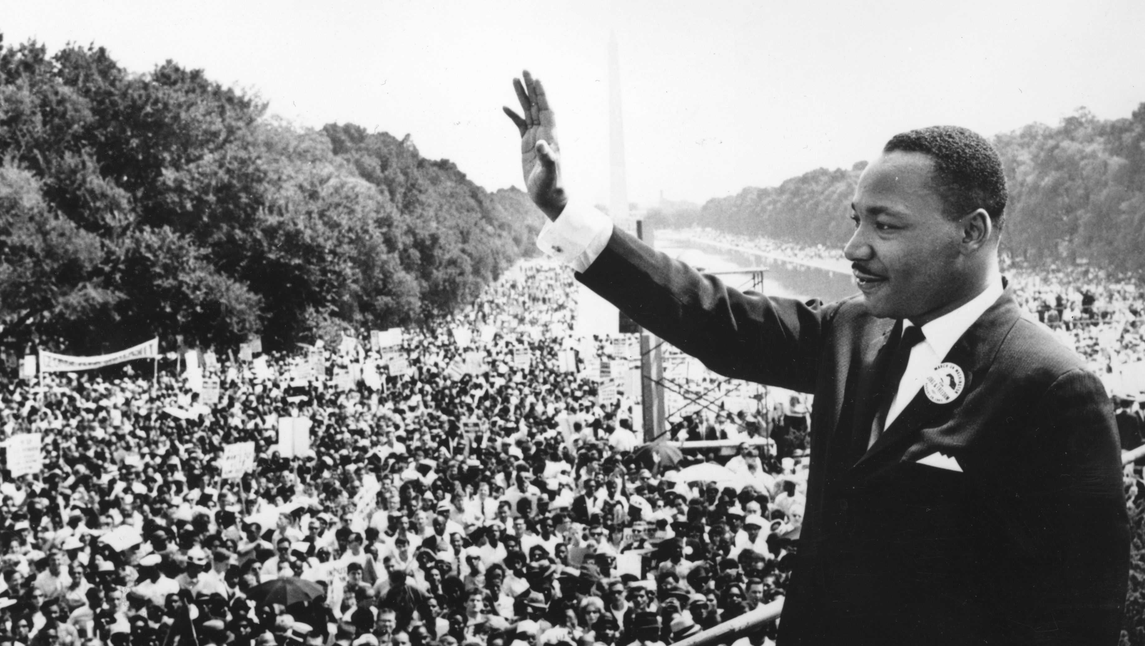 Civil rights leader Martin Luther King Jr. addresses crowds during the March On Washington at the Lincoln Memorial, Washington DC, where he gave his 'I Have A Dream' speech.