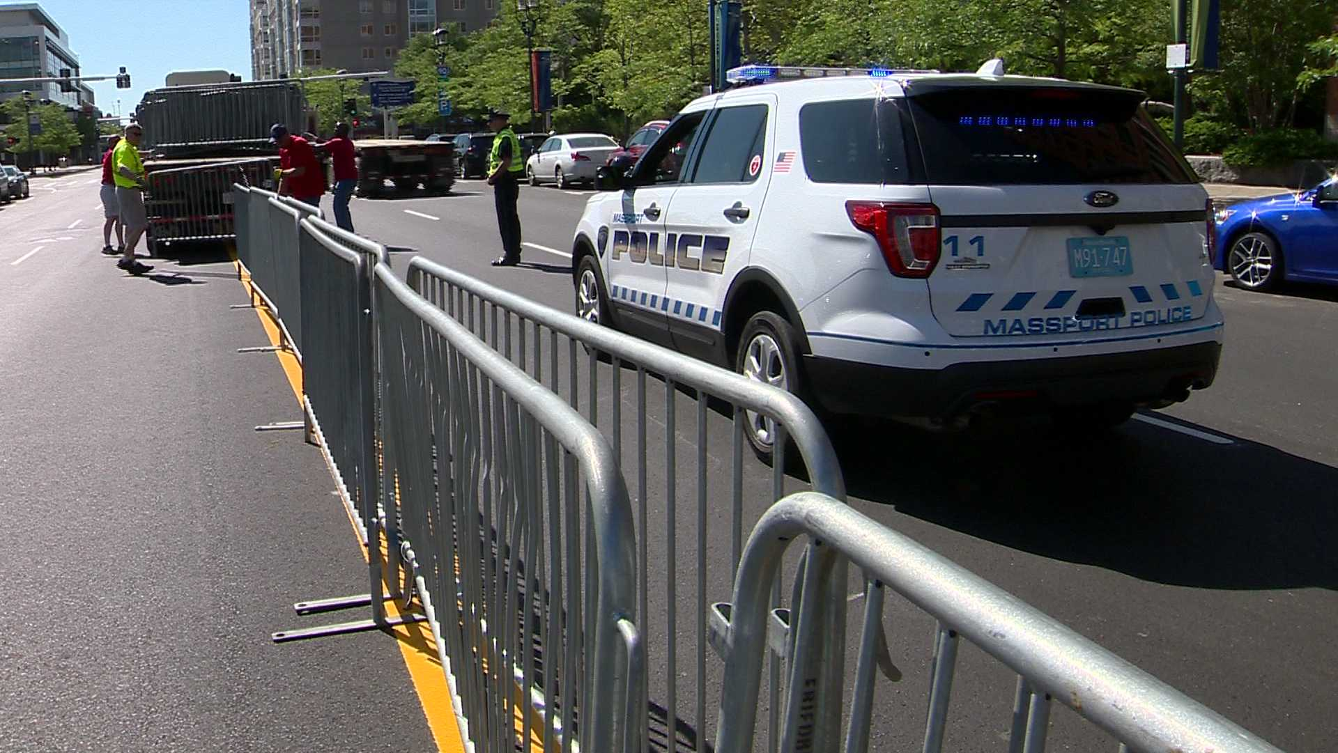 Barricades unloaded ahead of Sail Boston
