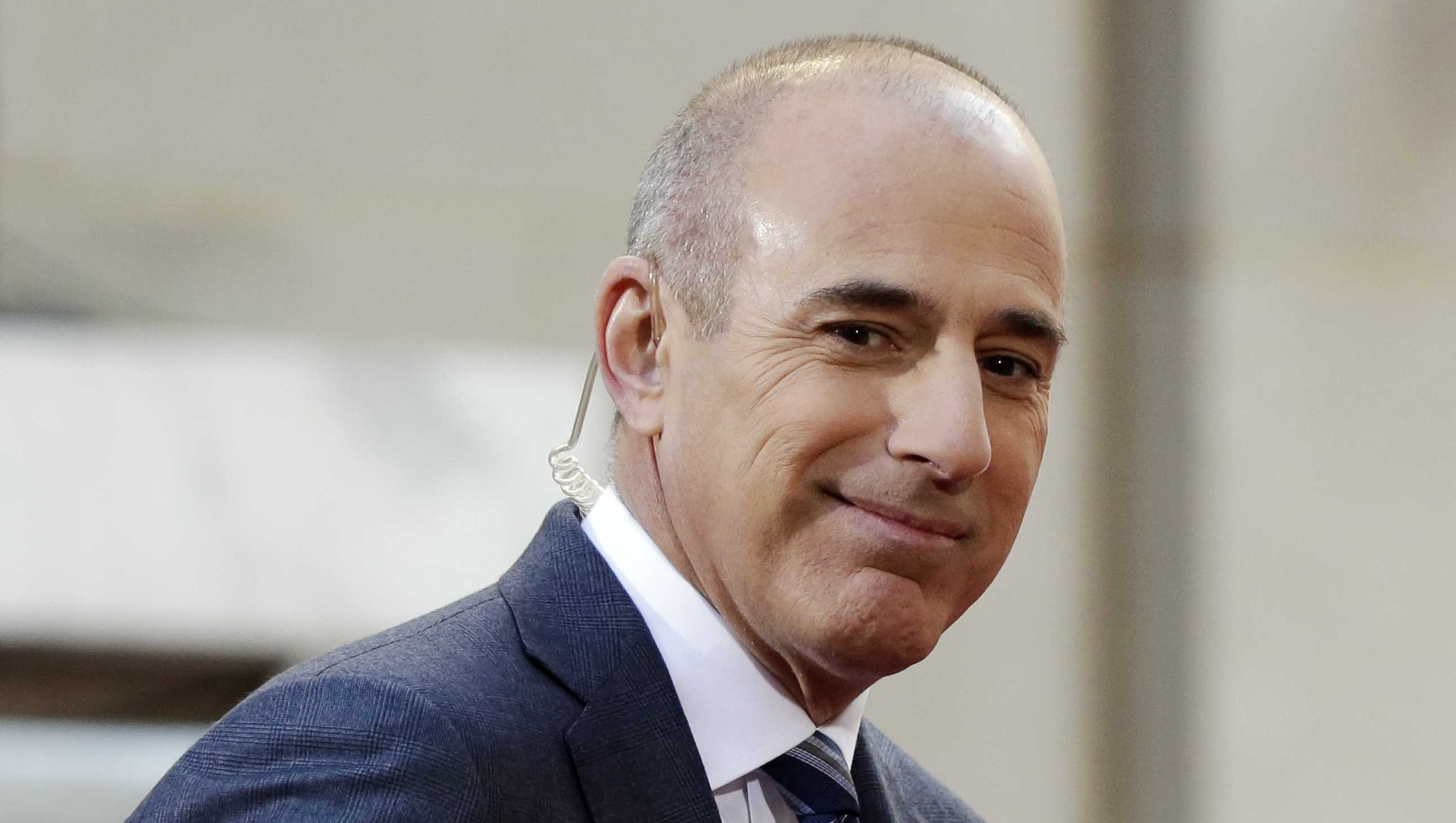 "In this April 21, 2016, file photo, Matt Lauer, co-host of the NBC ""Today"" television program, appears on set in Rockefeller Plaza, in New York."