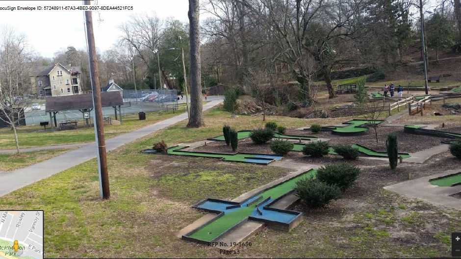 Existing miniature golf course at McPherson Park
