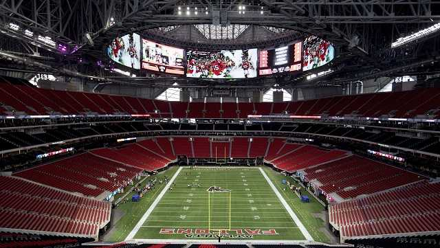 The Mercedes-Benz Stadium, the new home of the Atlanta Falcons football team and the Atlanta United soccer team, nears completion in preparation for its opening in Atlanta, Tuesday, Aug. 15, 2017. The stadium will open to the public for the first time at an Aug. 26 Falcons preseason game.