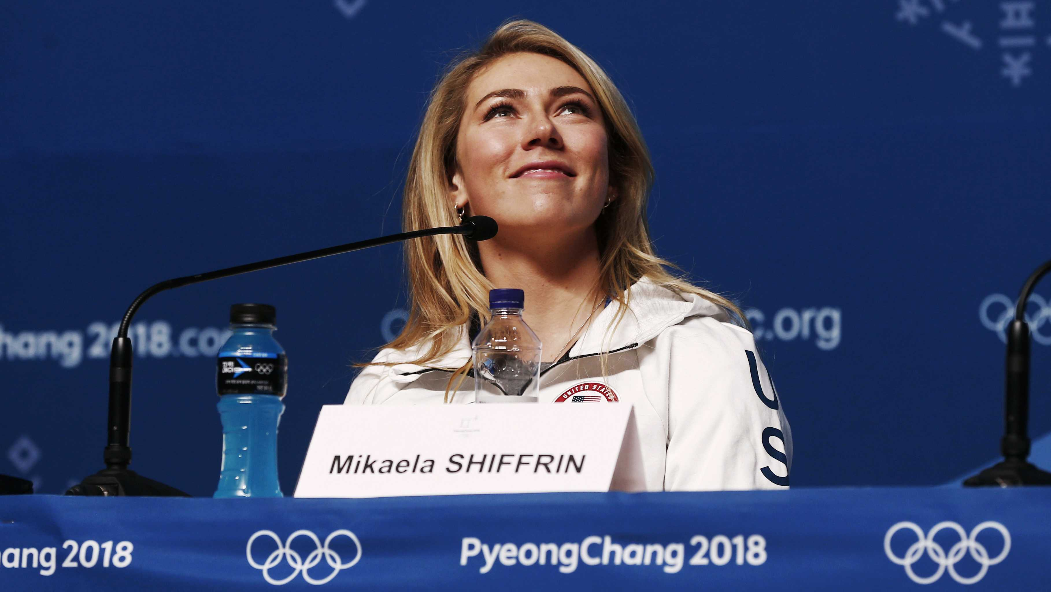 Alpine skier Mikaela Shiffrin, of the United States, speaks during a news conference at the 2018 Winter Olympics in Pyeongchang, South Korea, Saturday, Feb. 10, 2018.