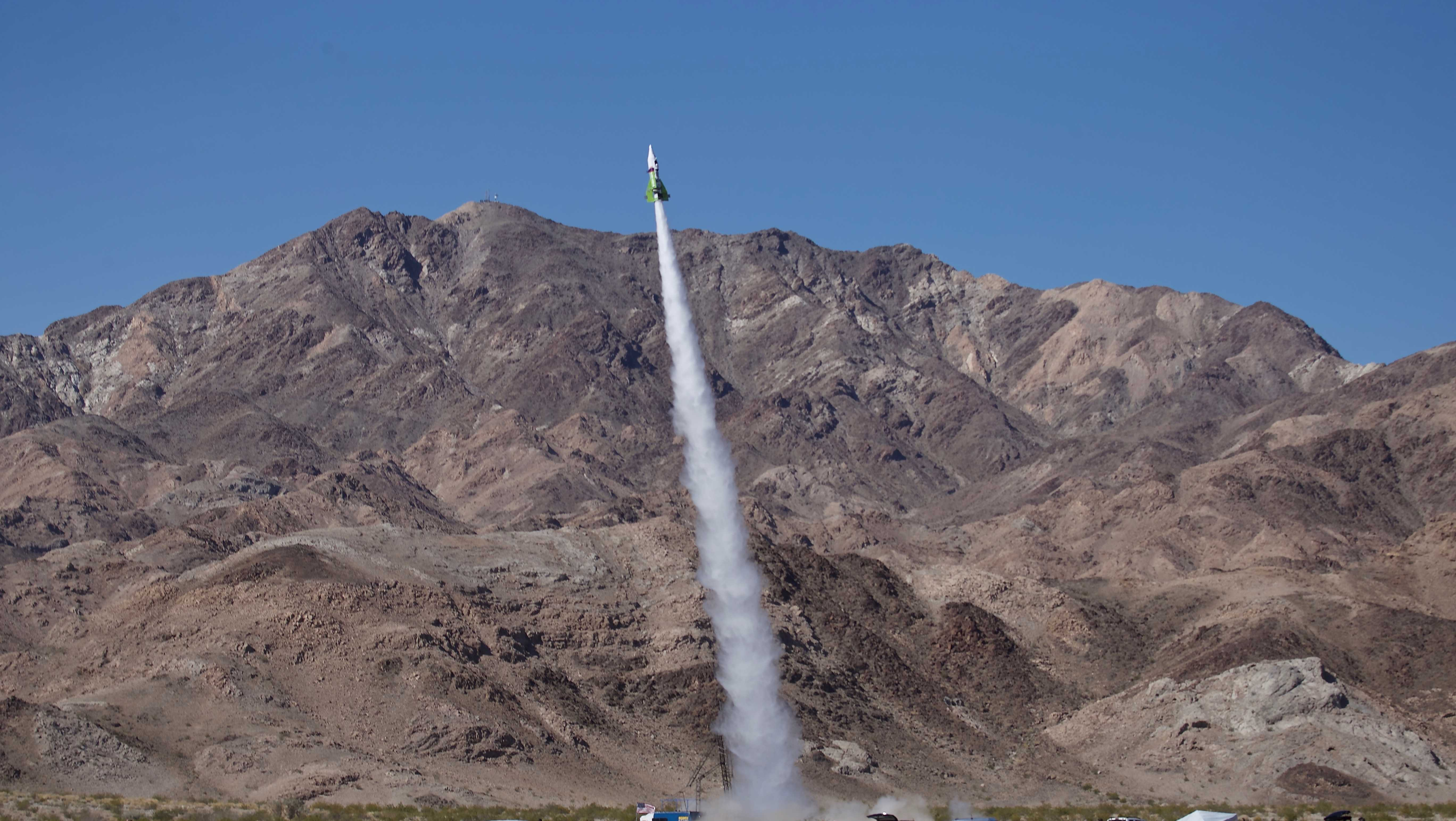 """Mad"" Mike Hughes' home-made rocket launches near Amboy, Calif., on Saturday, March 24, 2018. The self-taught rocket scientist who believes the Earth is flat propelled himself about 1,875 feet into the air before a hard-landing in the Mojave Desert that left him injured."