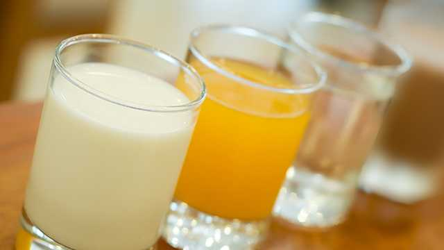 milk, juice, water