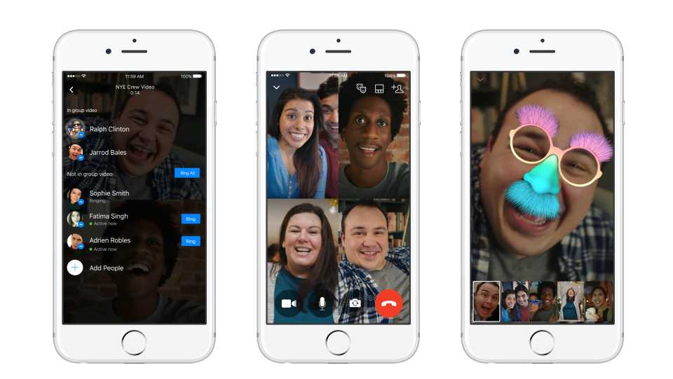 A group video chat on Facebook Messenger.