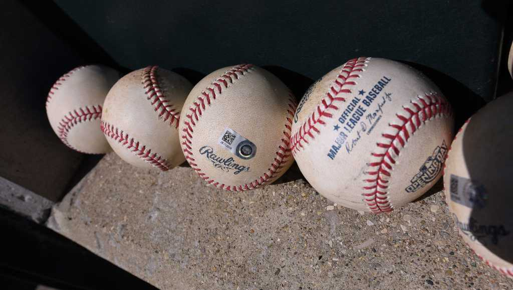 A view of a group of authenticated official Rawlings MLB baseballs sitting in the dugout during the Opening Day game between the Boston Red Sox and the Detroit Tigers at Comerica Park on April 7, 2017 in Detroit, Michigan.