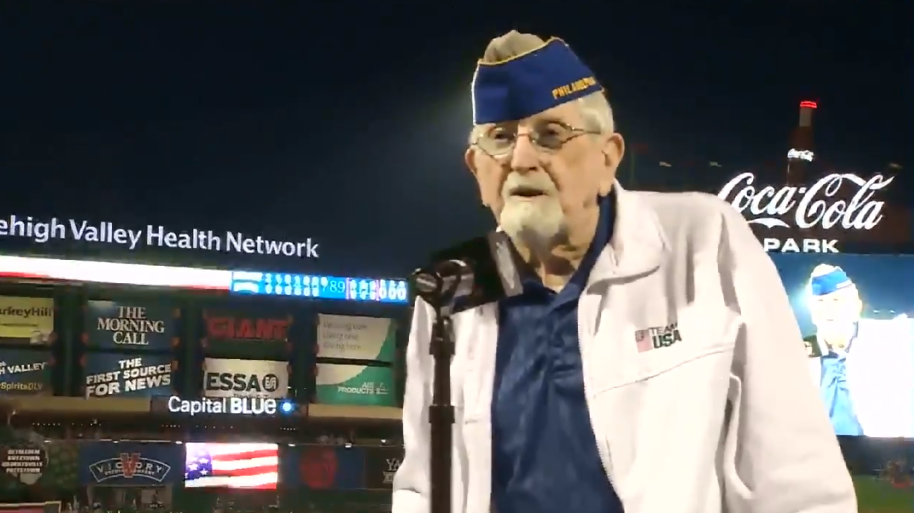 "Raymond T. Mohr sings ""God Bless America"" at Coca-Cola Park in Allentown, Pennsylvania."