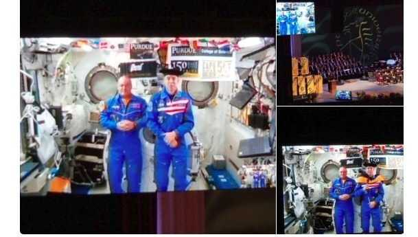 Andrew Feustel, who's on the ISS as part of Expedition 55/56, was beamed into the commencement program via live video so other graduates could watch the zero-gravity hooding ceremony,