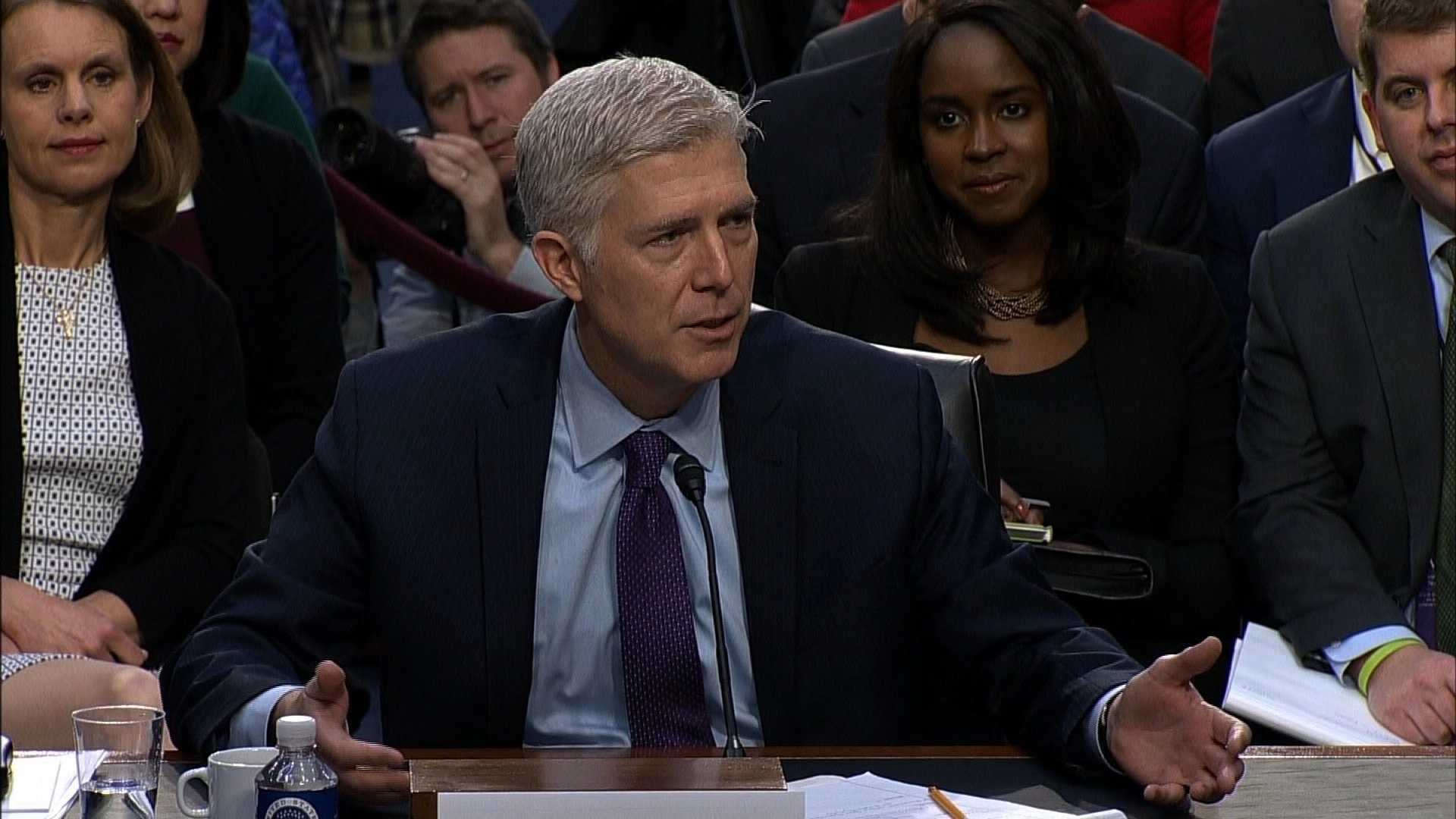 Neil Gorsuch is seen here being questioned in the Senate Judiciary Committee on March 21, 2017.