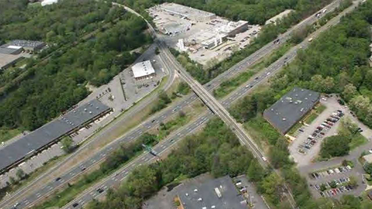 This MassDOT overhead photo shows the Dedham Street interchange in Canton, Mass.   Officials plan to build a new exit to the street from the northbound side of Interstate 95.